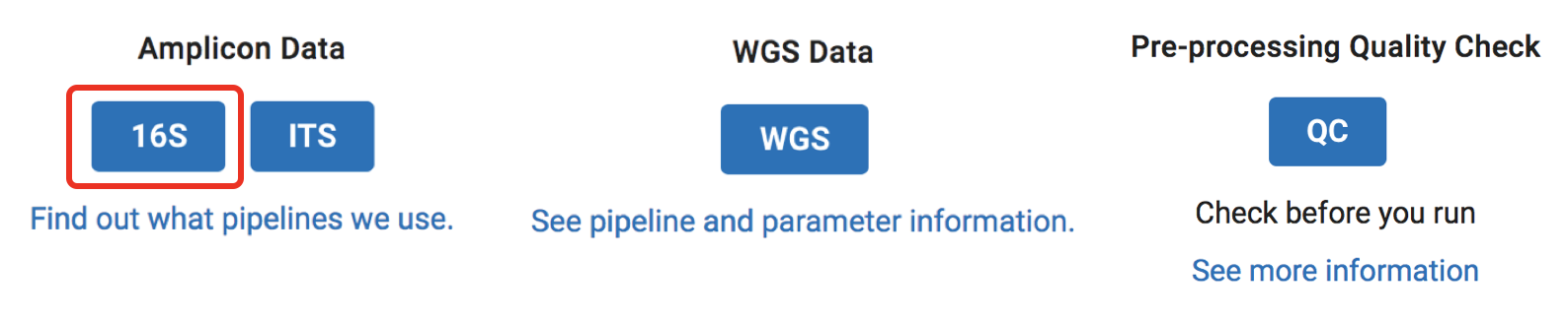 Screenshot of analysis type select panel with Amplicon and WGS type selection buttons