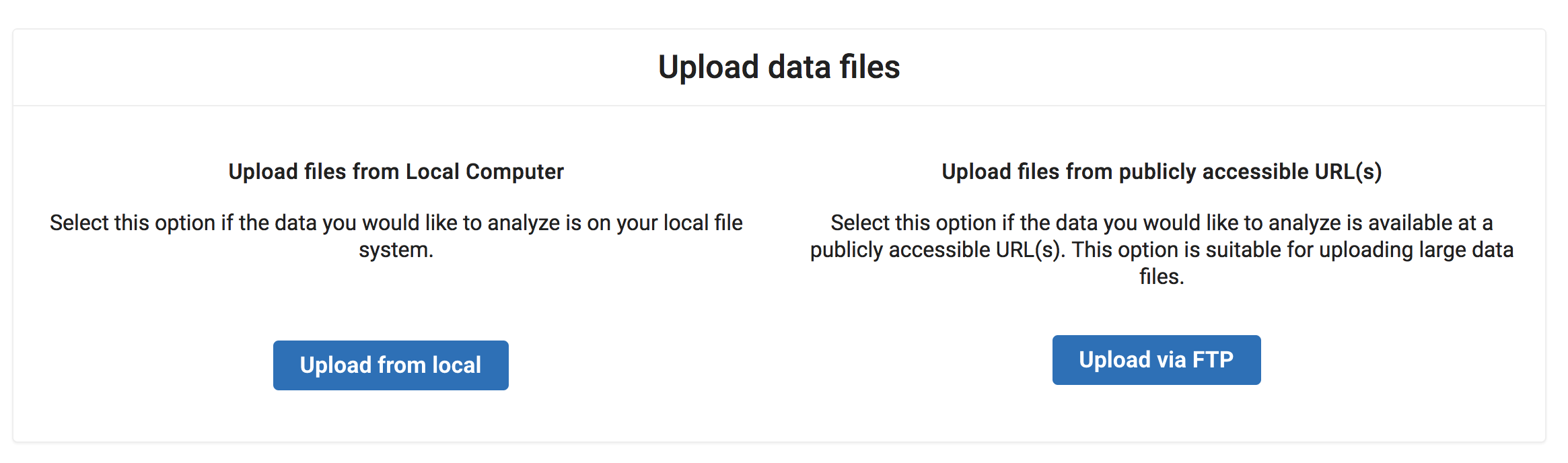 Screenshot of upload options panel with from local and FTP buttons