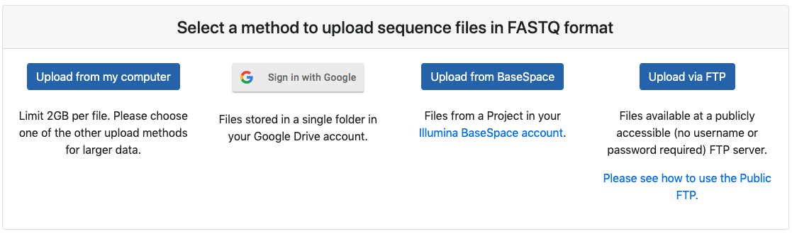 Screenshot of upload options panel with from local, Google Drive, BaseSpace and FTP buttons